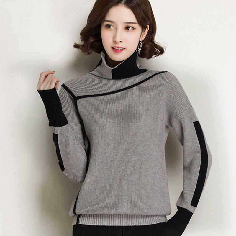 2018 Демисезонный элегантный вязаный Свитеры для женщин Для женщин Пуловеры для женщин зимняя Водолазка свободные теплые большие размеры Knitt... ...