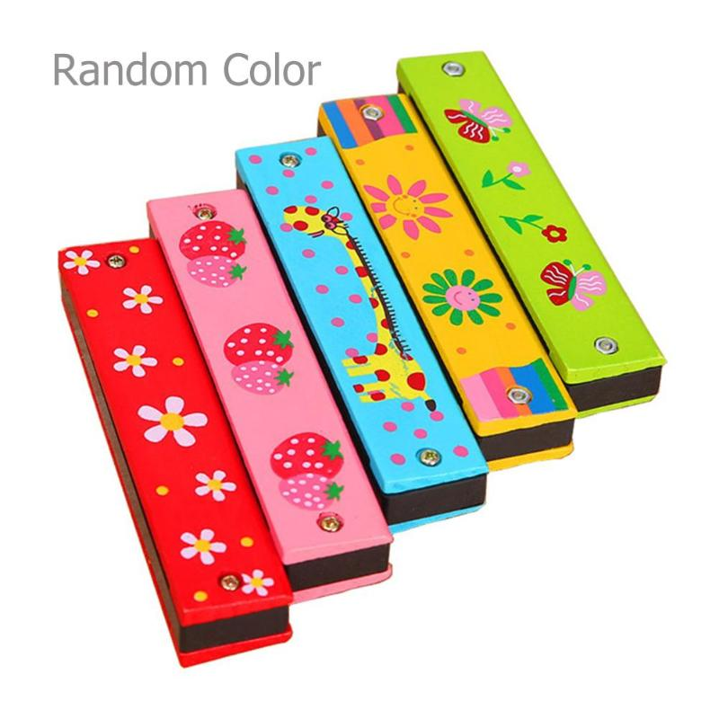 Colorful Kids Wooden Harmonica Musical Instruments Toys Children Cartoon Pattern Wood Mouth Organ Music Learning Education Toys