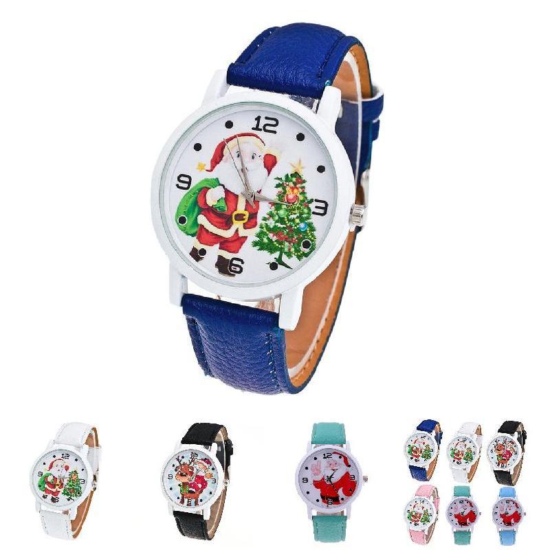 Fashion Men Women Wristwatch Christmas Santa Claus Pattern font b Watches b font PU Leather Strap