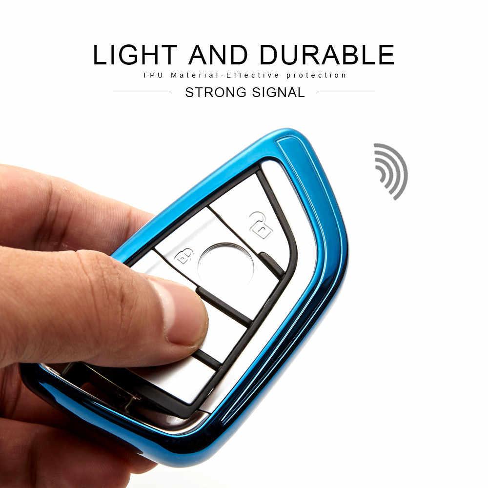 TPU حماية مفتاح السيارة حالة الغطاء الجلد شل ل BMW 1 2 5 7 سلسلة 218i X1 F48 X3 X4 x5 X6 F15 540 740 مفتاح فوب سلسلة حلقية