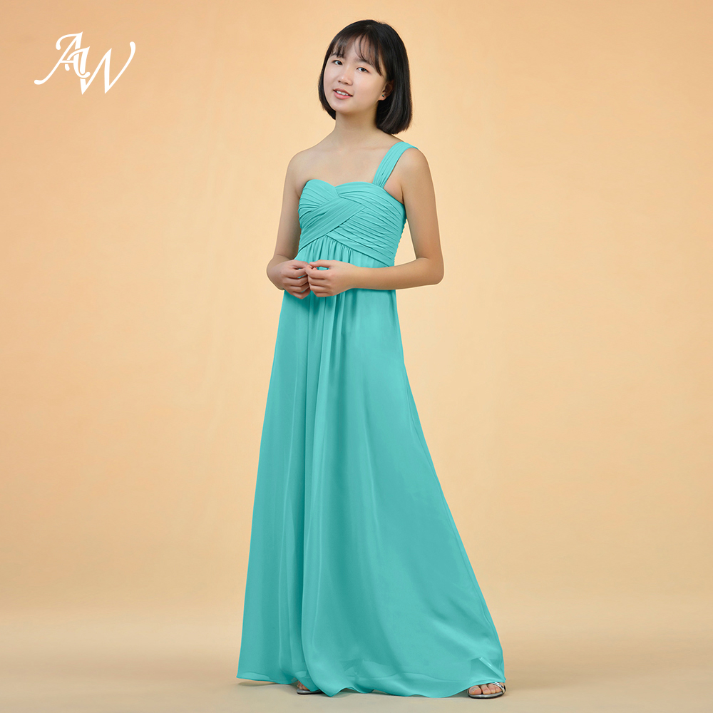 Aw a lineprincess one shoulder floor length chiffon junior aw a lineprincess one shoulder floor length chiffon junior bridesmaid dress with ruffle in bridesmaid dresses from weddings events on aliexpress ombrellifo Choice Image