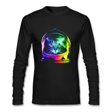 Personality Round Neck Astronaut Cat Long Sleeve Men's Brand Winter T Shirts Low Price