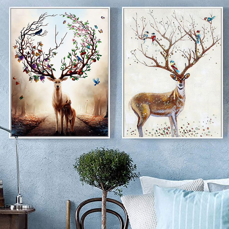 BEAUTIFUL DEER IN A DREAMY FOREST CANVAS PRINT WALL ART PICTURE PHOTO