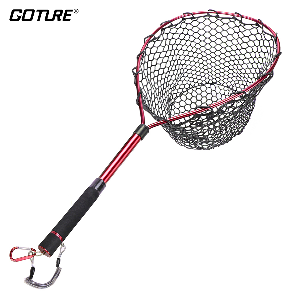 Goture Telescopic Fly Fishing Landing Net Of Aluminum Alloy Frame ,Small Rubber Mesh Magnetic Clip Lanyard                    Goture Telescopic Fly Fishing Landing Net Of Aluminum Alloy Frame ,Small Rubber Mesh Magnetic Clip Lanyard