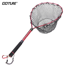 Goture Telescopic Fly Fishing Landing Net Of Alunimum Alloy Frame ,Small Rubber Mesh Magnetic Clip Lanyard
