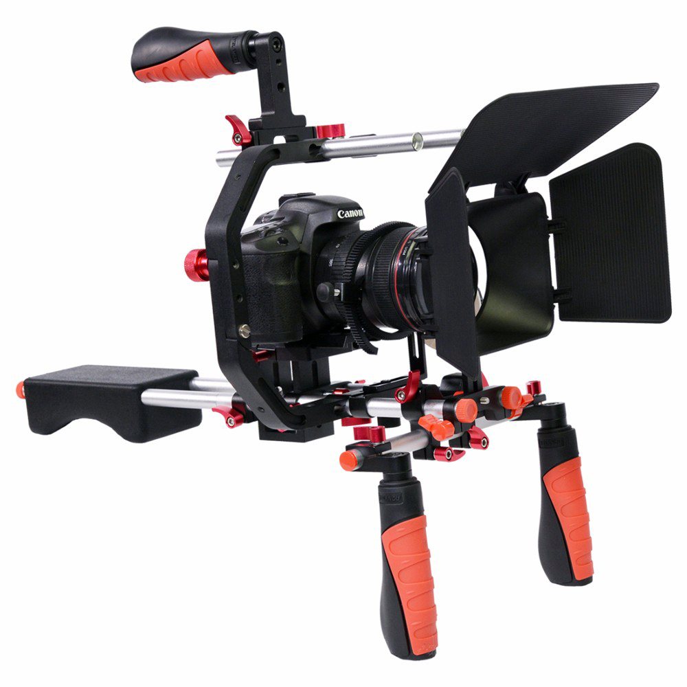 5 in 1 DSLR Rig Kit C shape Stabilizer Shoulder Mount Rig/Matte Box/Follow Focus/Dslr Cage handle stabilizer steadicam yelangu professional handheld shoulder mount dslr video camera stabilizer support system kit matte box follow focus c shape tubo