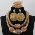 Новый Шампанское Золото Дубай Комплект Ювелирных Изделий Большой Кулон Ожерелье Серьги Браслет Ювелирные Изделия Подарок На День Рождения Любителей Бесплатная Доставка WD520