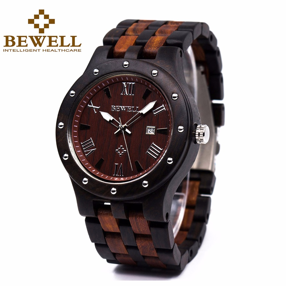 Bewell Luxury Wooden Men's Watch Large Dial Calendar Quartz Wrist Watches with Luminous Hands Waterproof Relogio Masculino 109A bewell fashion luxury brand wooden watch for man round dial date display wristwatch and luminous pointers wood watch zs 109a