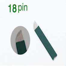 50PCS Green 18 Pin Permanent Makeup Eyebrow Tatoo Blade Microblading Blue Needles For Manual Tattoo Pen Machine
