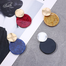 Badu Big Round Acrylic Stud Earring Exaggerated Flaw Sand Pattern Bohemian Earrings for Christmas Wholesale Jewelry
