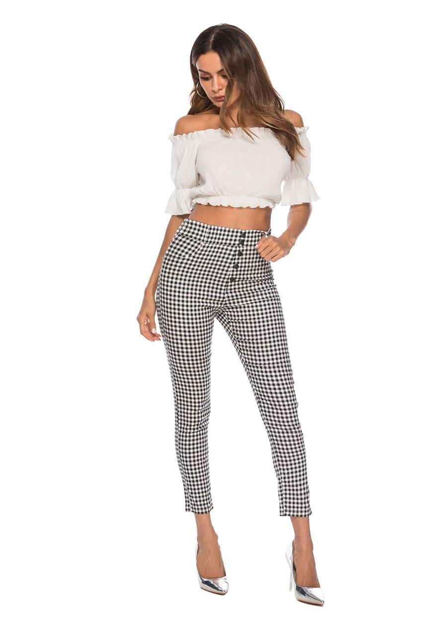 Benuynffy Vintage Button High Waist Plaid Pants Summer Office Lady Workwear Trousers Women Elegant Side Zipper Pencil Pants 5
