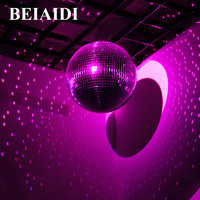 BEIAIDI 15CM 20CM 25CM Glass Rotating Disco Mirror Ball With Motor Commercial Holiday Party Reflecting Hanging Disco Ball Light