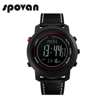 SPOVAN Fashion Black Men\'s Watch Genuine Leather Band 50M Waterproof Compass Pacer LED Multifunction Men Sport Watches MG01 - DISCOUNT ITEM  5 OFF Watches