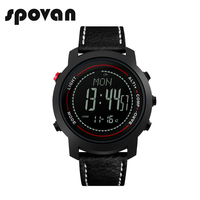 SPOVAN Fashion Black Men's Watch Genuine Leather Band 50M Waterproof Compass Pacer LED Multifunction Men Sport Watches MG01