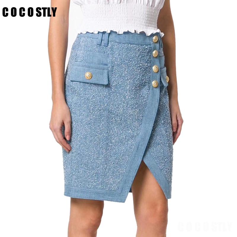 Casual Mujeres Bodycon Recta Botón Jeans Falda Sexy Denim longitud Oficina As Sólido Midi Shown Rodilla Lápiz qCn1qrgv