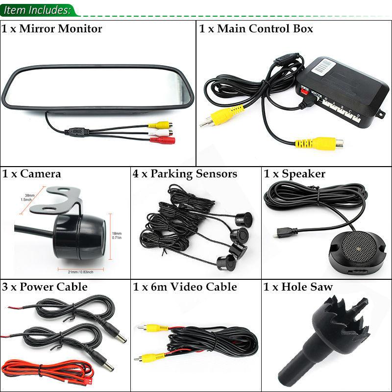Assistenza Al Parcheggio auto 3IN1 Rear View Mirror Monitor + Backup Reverse Camera + Video Radar Detector Sensore di Allarme Acustico - 5