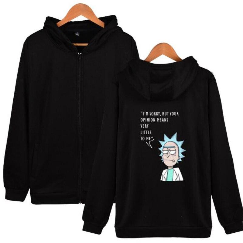 Hip Hop Fashion Brand Clothing Cute Cartoon Rick And Morty Printed Zipper Hooded Sweatshirt Mens Jackets and Coats Streetwear