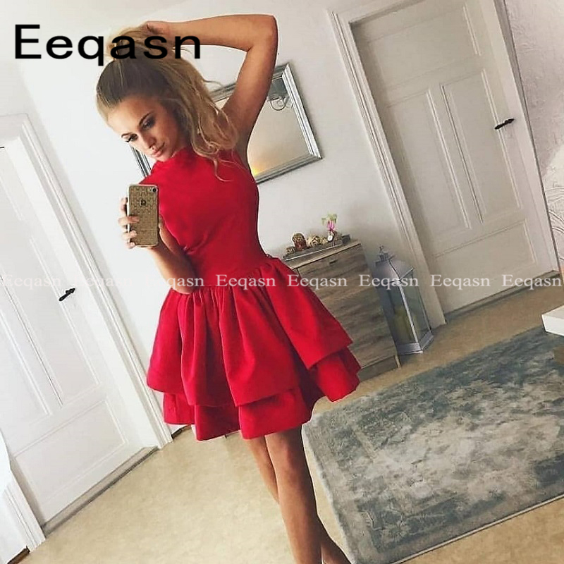 Red Short Cocktail Dress 2020 Sleeveless Satin Sexy Short Robe De Cocktail Courte A-Line Short Prom Gowns Homecoming