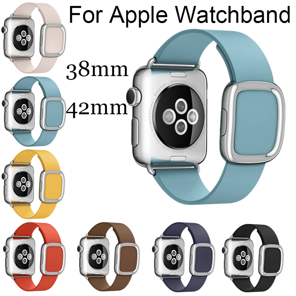 For Apple Watch Band Modern Buckle Band for Apple Watch 38MM Smooth Granada leather with two