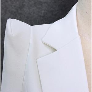 Image 5 - TOP QUALITY 2020 New Stylish Designer Blazer Womens Shrug Shoulder Single Button White Blazer Jacket