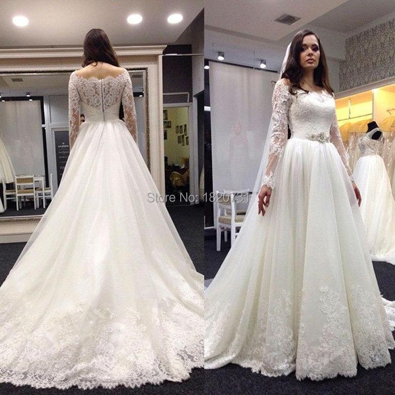Us 17175 25 Off2019 New Antique Long Sleeved A Line Wedding Dress Organza Flexible Pipe Applique Wedding Dress Elegant Vestido De Noiva Customi In