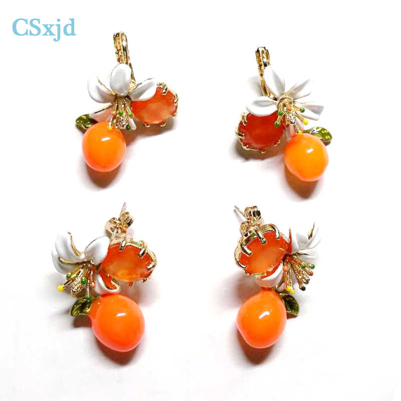 CSxjd Provence Oranges Flower Series Enamel Glaze Elegant Fresh White Flower Earrings
