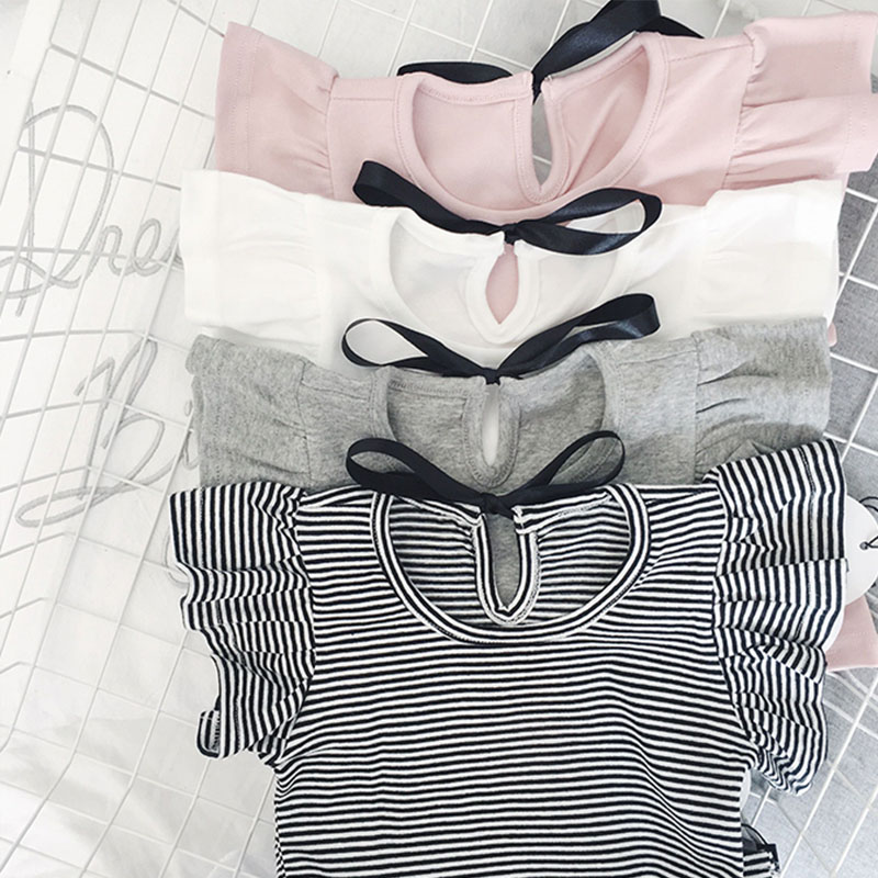 EnkeliBB Toddler Girl Summer Causal T Shirt Ruffle T-shirt For Girls Lovely Baby PinkWhiteGrayStriped Basic Tees Quality Tops