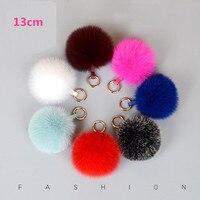 Fashion 13cm Fluffy Keychains Fox Fur Ball Pompoms Keyring Animal Fur Pom Pom Key Chain Holder Charm Bag Pendant Car Key Rings