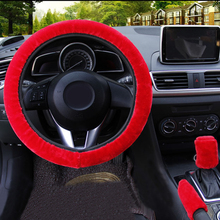 Pink 3pcs/set Fur Car Steering Wheel Cover Bean Paste Color Wool Furry Fluffy цены