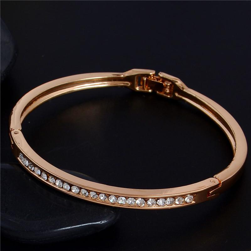 SHUANGR Fashion Rose Gold Color Jewelry Austrian Crystal Classic Lady's Closed Bangle Bracelets, Women's Bracelet 6