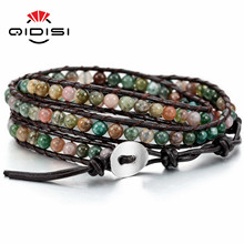 Новинка, модный кожаный браслет с камнем, Браслет-манжета из бусин, 3 обруча, очаровательные браслеты, женские браслеты,, массивные ювелирные изделия, вечерние