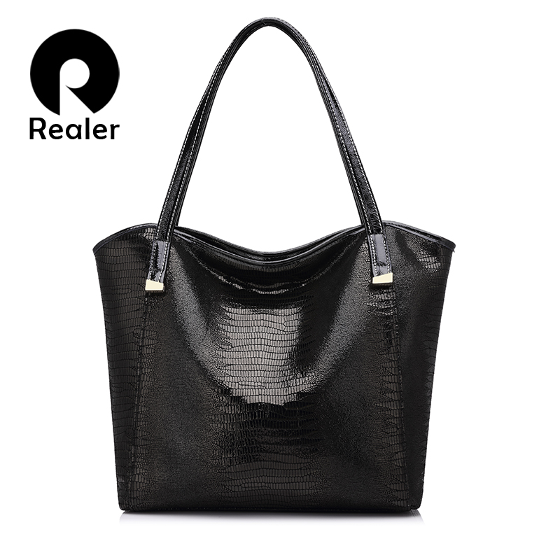 REALER brand genuine leather bag women serpentine print shoulder bag ladies large handbag female high quality leather tote bag
