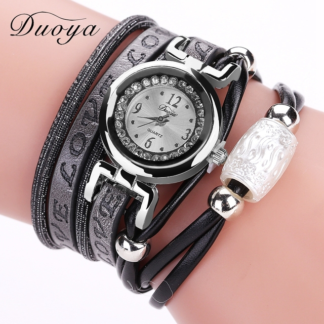 Duoya Brand Hot Sale Luxury Watch Fashion Women Silver Bracelet Watch Vintage Ca