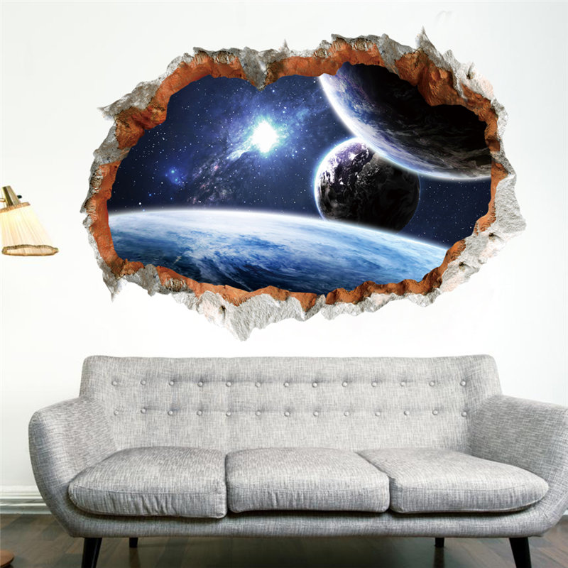 Galaxy Space Planet Stars 3D Window Poster Broken Wall Creative Decorations For Kids Baby Nursery Bedroom Wall Stikcer Decor ...