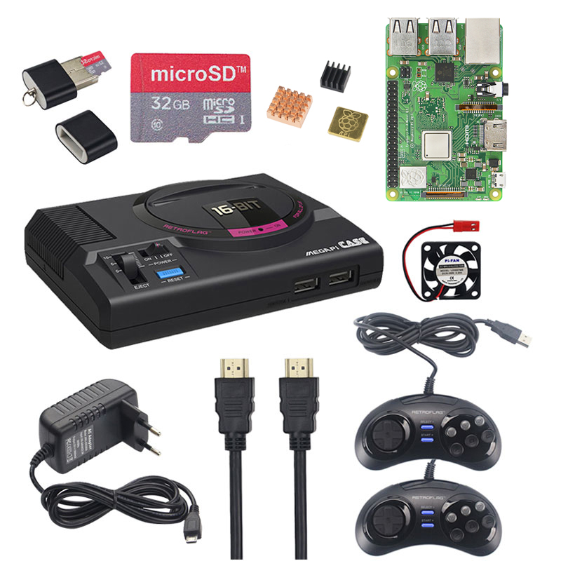 Retroflag MEGAPi CASE-M For Raspberry Pi 3 Model B Plus Classic USB Controller-M + Fan + Heatsinks + Power Adapter For RetroPie
