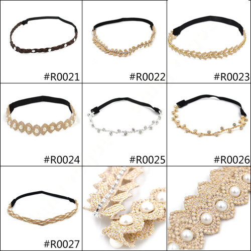 daily vogue Lychee New Fashion elastic hairbands insert rhinestone pearl hair bands gold silver hairwear