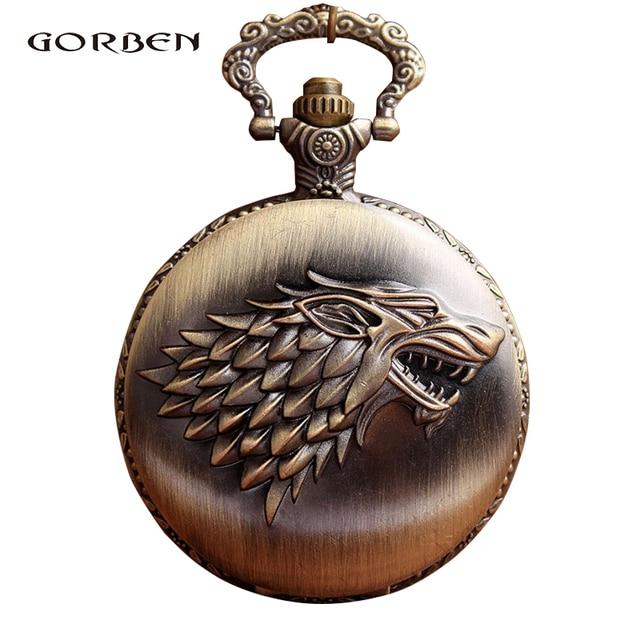 Antique Vintage pocket fob watch Game of Thrones Stark Winterfell Wolf Design Lo