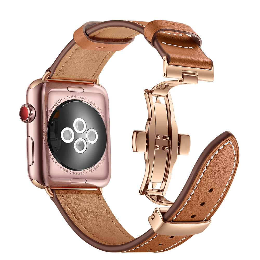 For Apple watch band 4 44mm 40mm Leather strap correa 42mm 38mm bracelet Wrist Watchband iwatch series 4 3/2/1 Replacement Belt leather for apple watch band 38mm 42mm butterfly buckle strap iwatch series 4 3 2 1 watchband replacement accessories wrist belt
