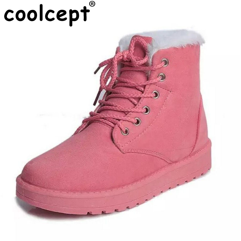 Size 35-40 Women Cross Strap Plush Flat Ankle Boots Half Short Boot Autumn Winter Warm Footwear Leisure Quality Vintage Shoes coolcept size 35 40 ross strap flat mid calf boots women thickened fur winter warm snow half short boot footwear shoes p21267