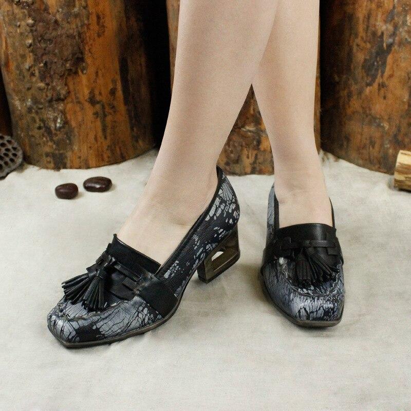 Des Vintage Gland Main Talons Carré Talon Pompes De Bout Travail Printemps Mix Color À 2019 Hauts Femmes Chaussures PkuTOXZi