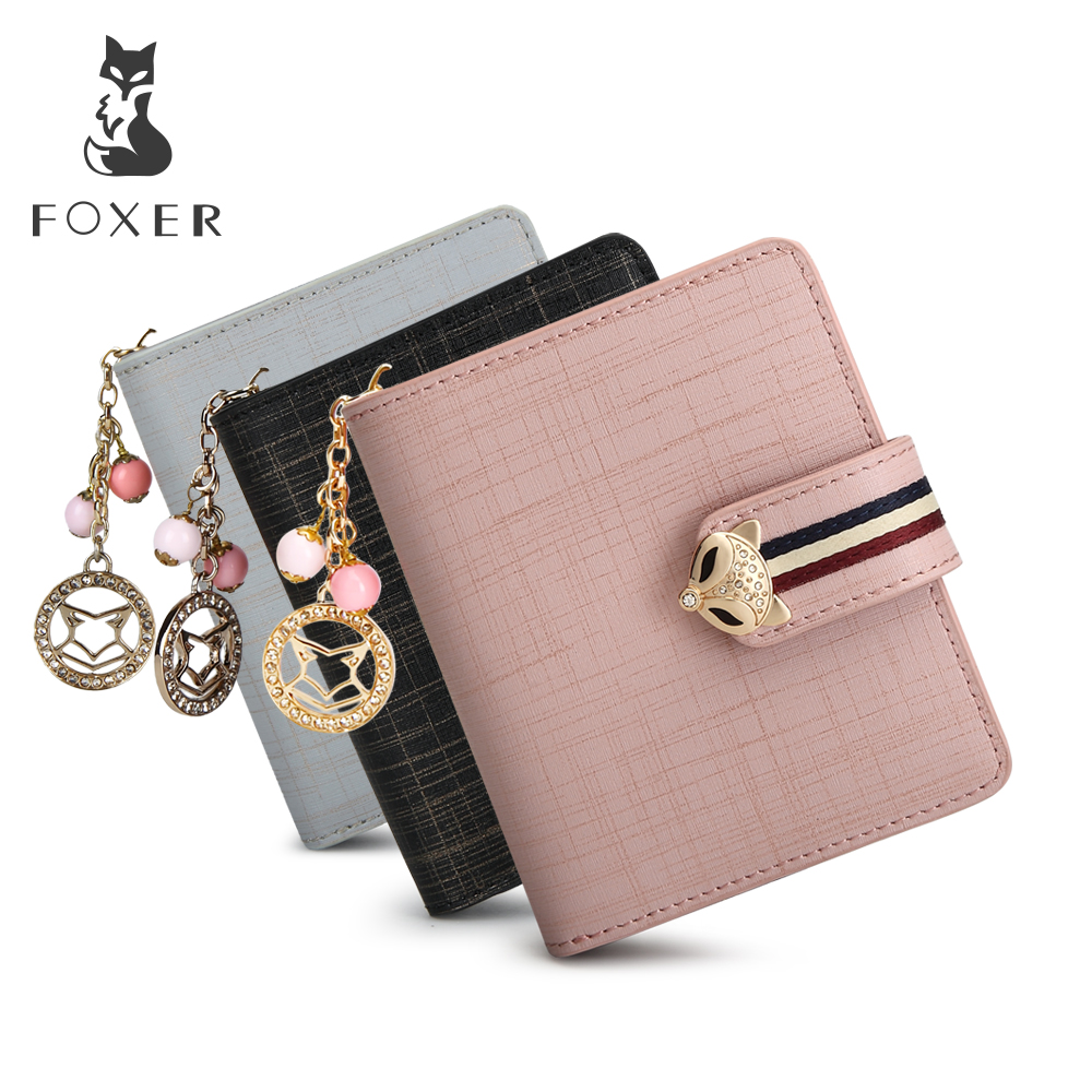 FOXER Brand Women Cow Leather Wallets Famous Designer Coin Purse Girl Fashion High Quality Short Wallet For Female foxer famous brand women cow leather long wallets female clutch bag fashion coin holder luxury purse for lady women s wallet