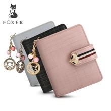 FOXER Marke Frauen Leder Brieftaschen Berühmte Designer Geldbörse Mode Hohe Qualität Kurze Brieftasche Für Weibliche