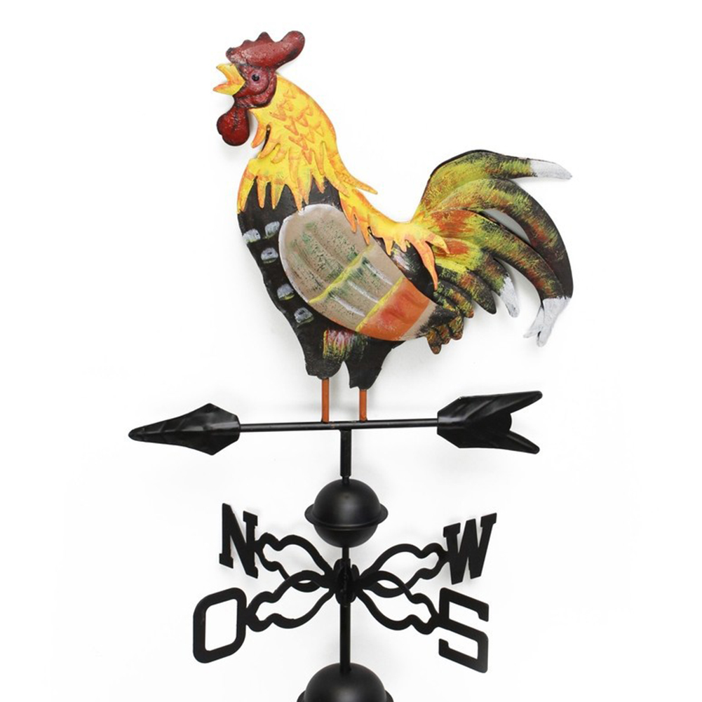 Decor Wind Direction Durable Iron Structure Yard Colorful Craft Easy Use Garden Retro Rooster Design Weather Vane Professional