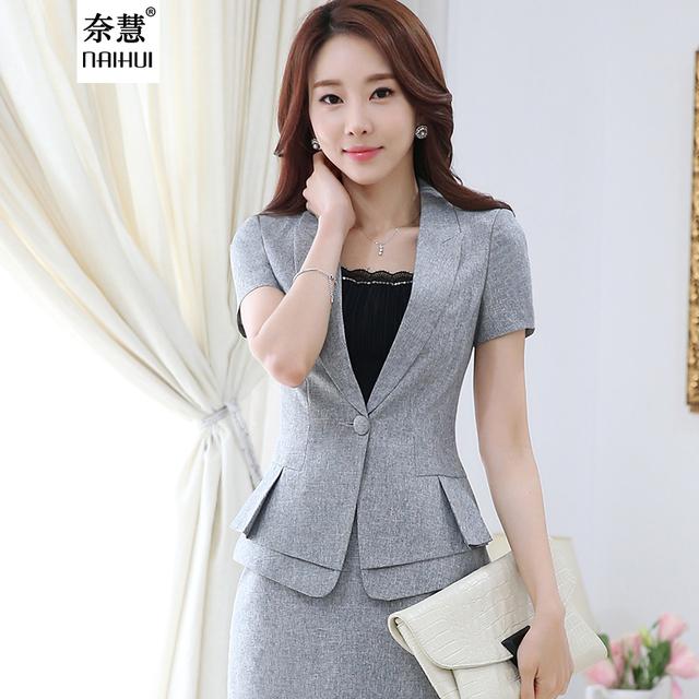 2 Peças Terno verão Novo OL workwear das mulheres saia conjuntos ternos moda terno formal feminino curto-manga blazer jaqueta & saia