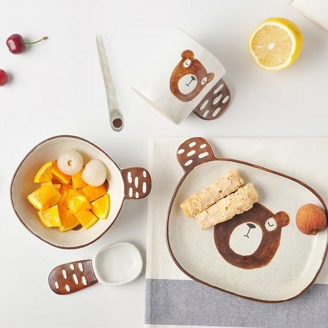 4PCS bowl dish set cartoon hand-painted ceramic tableware handmade ceramic children cute breakfast bowl children tableware