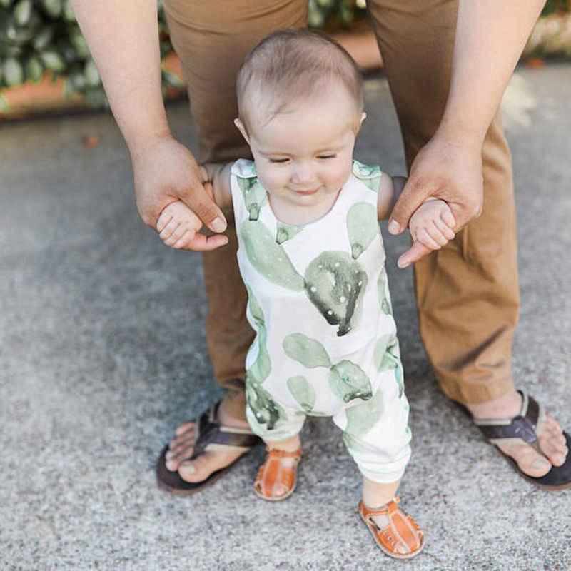 Милый хлопковый комбинезон без рукавов с принтом кактуса для маленьких мальчиков и девочек, комбинезоны, детская одежда, от 0 до 24 месяцев