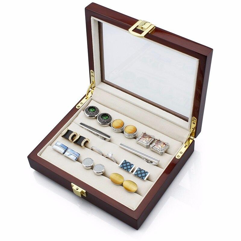 HAWSON Wooden Display Box Dark Brown Storage Jewelry Case Best Gift for Husband Birthday