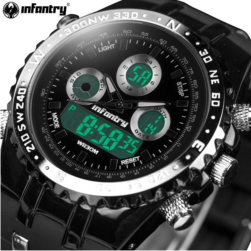 INFANTRY Mens Quartz Watches LED Digital Date Day Chronograph Silicone Strap Waterproof Sports Wristwatches Relogio Masculino