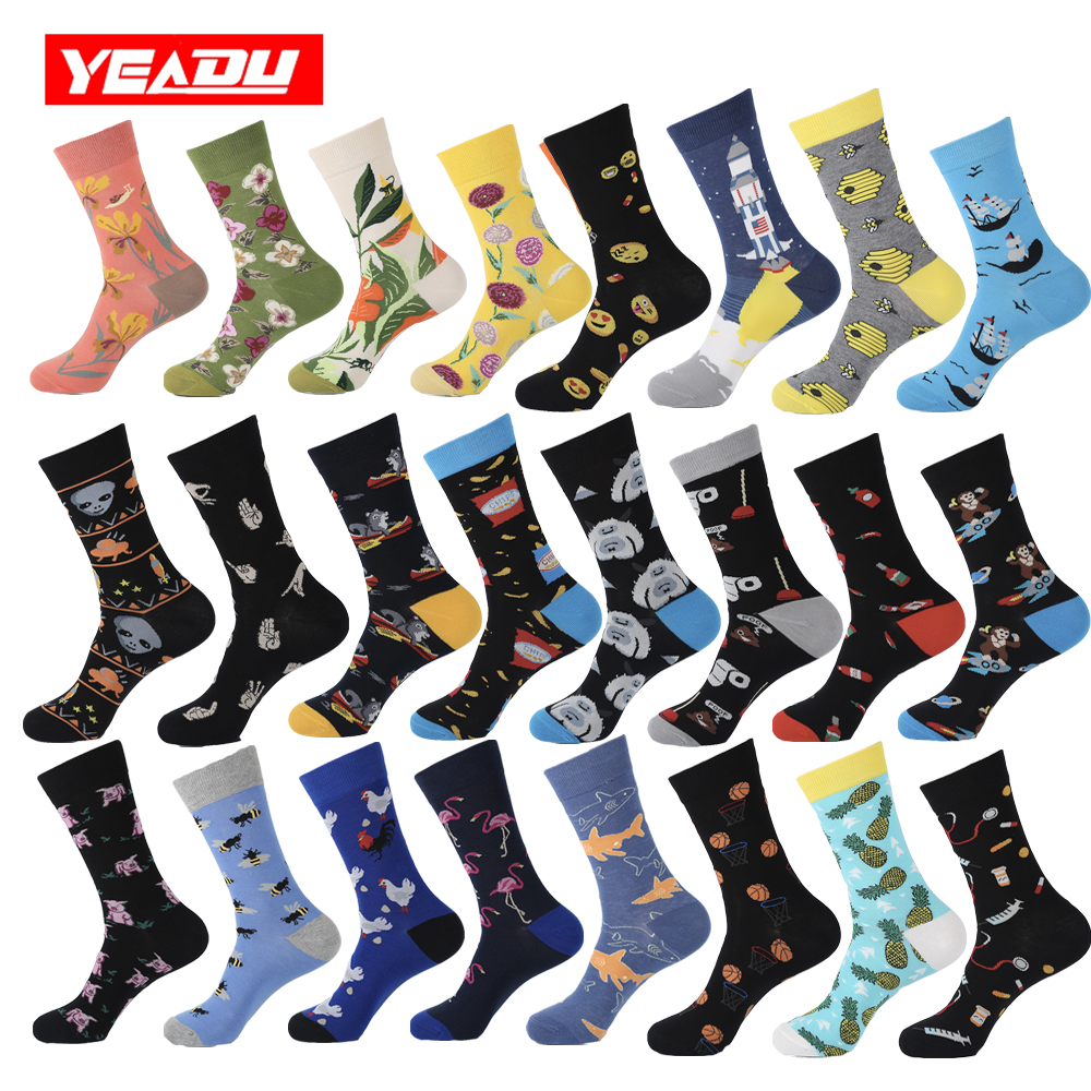 YEADU 2019 Cotton Men's Socks Harajuku Hip Hop Happy Colorful Funny Chicken Alien Sloth Skate Cool Dress Socks For Man