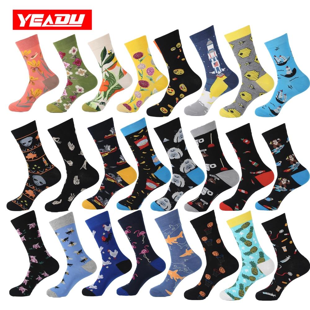 YEADU 2019 Cotton Men's   Socks   Harajuku Hip hop Happy Colorful Funny Chicken Alien Sloth Skate Cool Dress   Socks   for Man